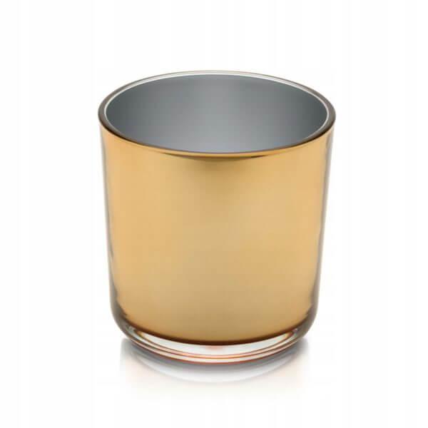 Osłonka doniczka szklana, złote lustro śr. 13 cm.