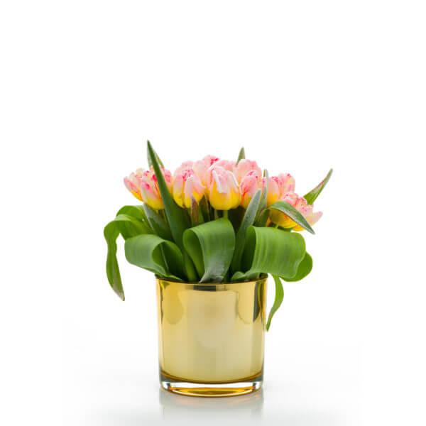Osłonka doniczka szklana złota śr 12 cm