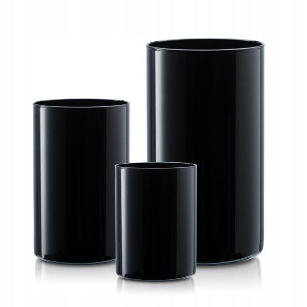 Wazon szklany TUBA wys. 30-21-15 -kpl 3 szt czarne