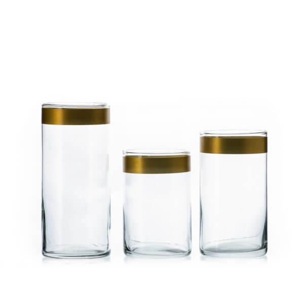 Wazon szklany TUBA wys. 25-20-17 -kpl 3 szt złoty Pasek