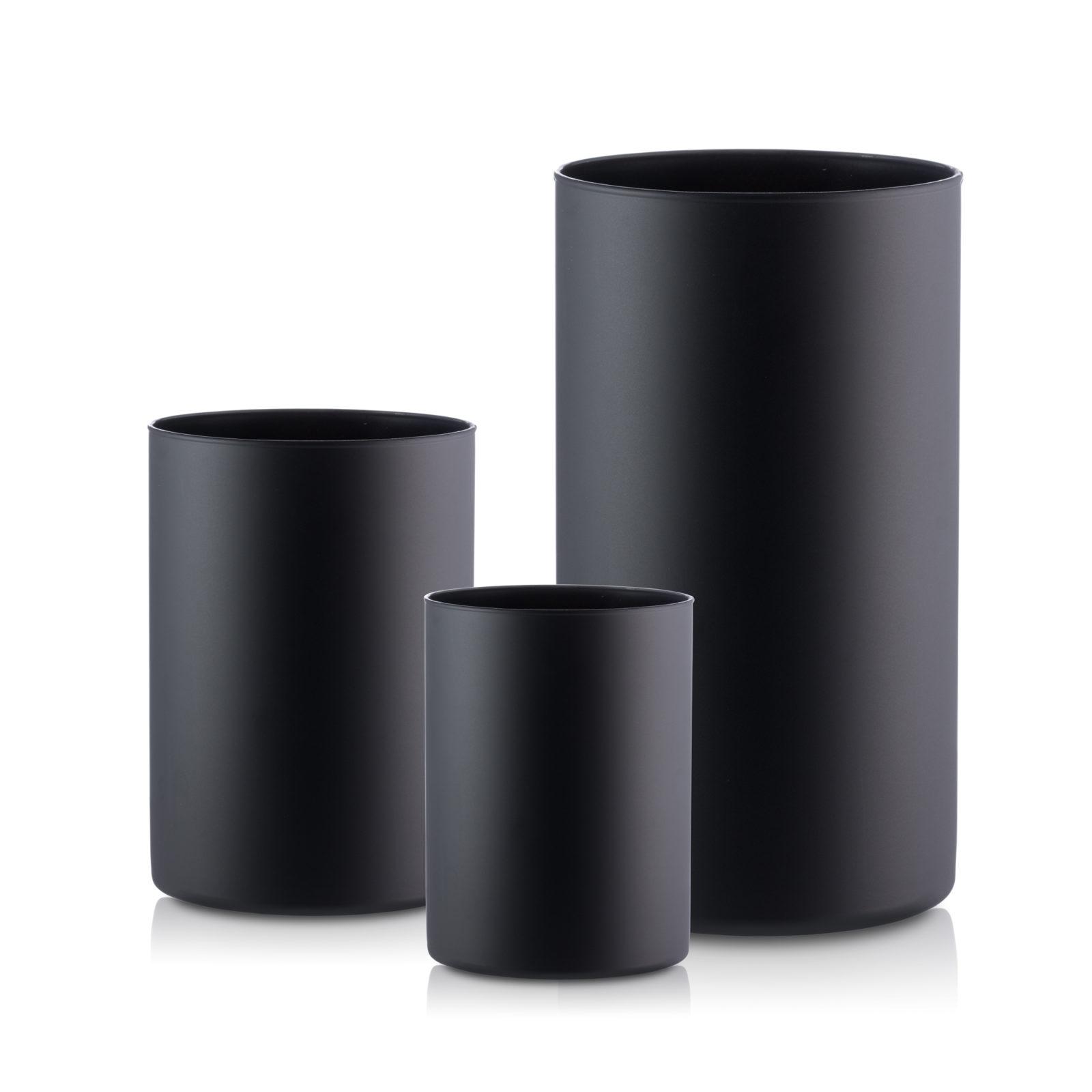 Wazon szklany TUBA 30-21-15-kpl 3szt czarny mat