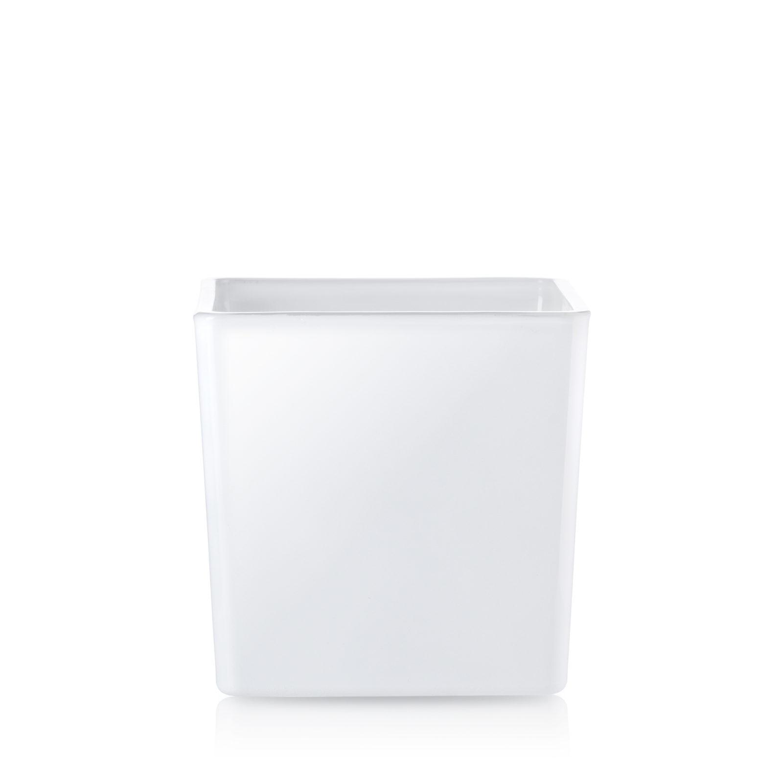 Osłonka doniczka kwadratowa, szklana biały połysk