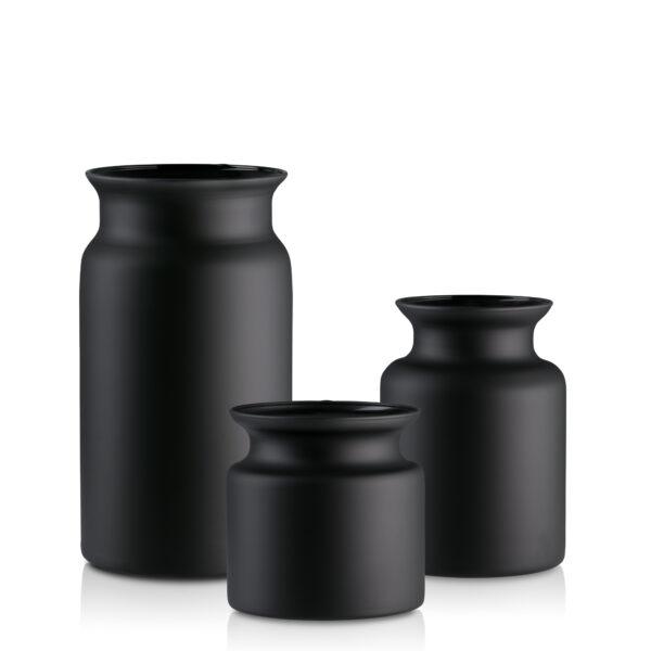 Słój wazon szklany H30 20 15 czarny mat-kpl 3