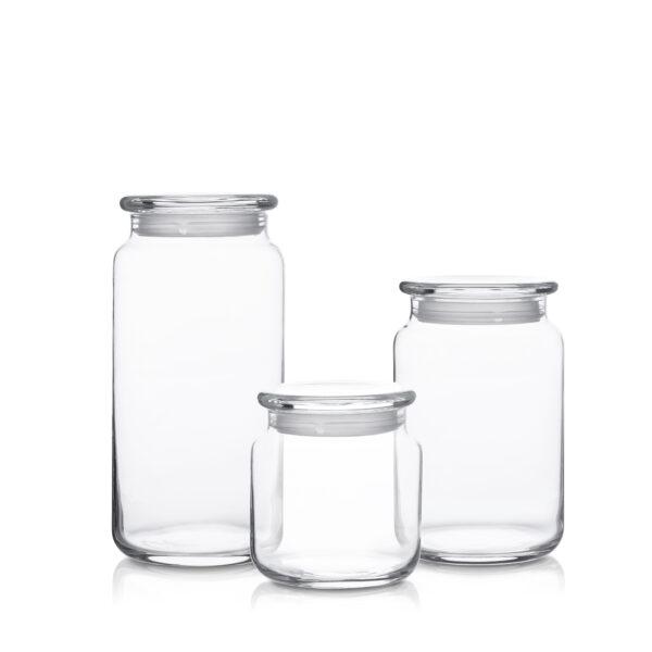 Pojemnik szklany z pokrywką H 10 15 20-kpl3