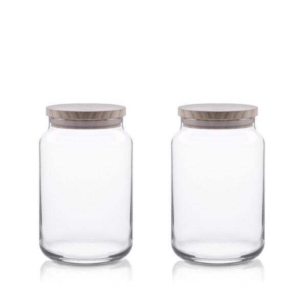 Pojemnik szklany na żywność słój drew pokr kpl 2 H15