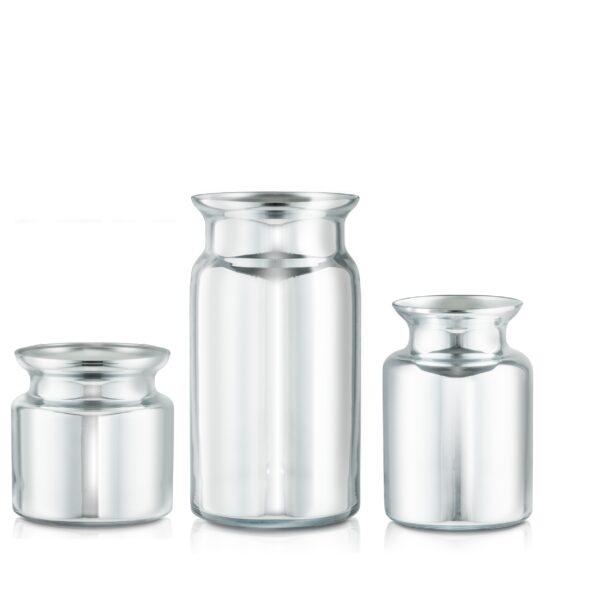 Wazon szklany Zestaw H30 20 15 srebrne lustro-kpl 3