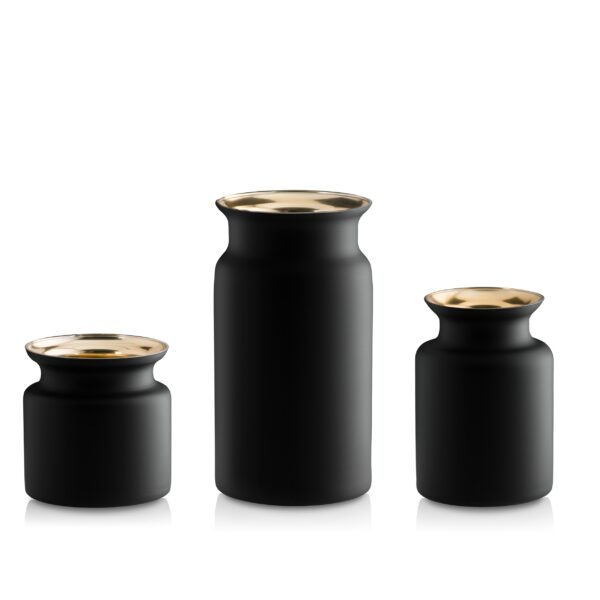 Wazon szklany Zestaw H30 20 15 złoty czarny- kpl 3