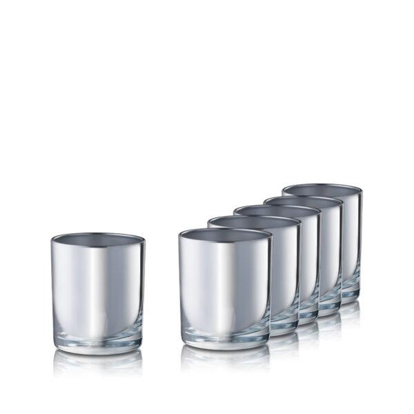 Pojemnik szklany szklanka do świec 38006-kpl6 srebrny