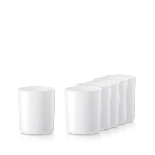 Pojemnik szklany szklanka do zalewu świec 70056-kpl6 biały poł