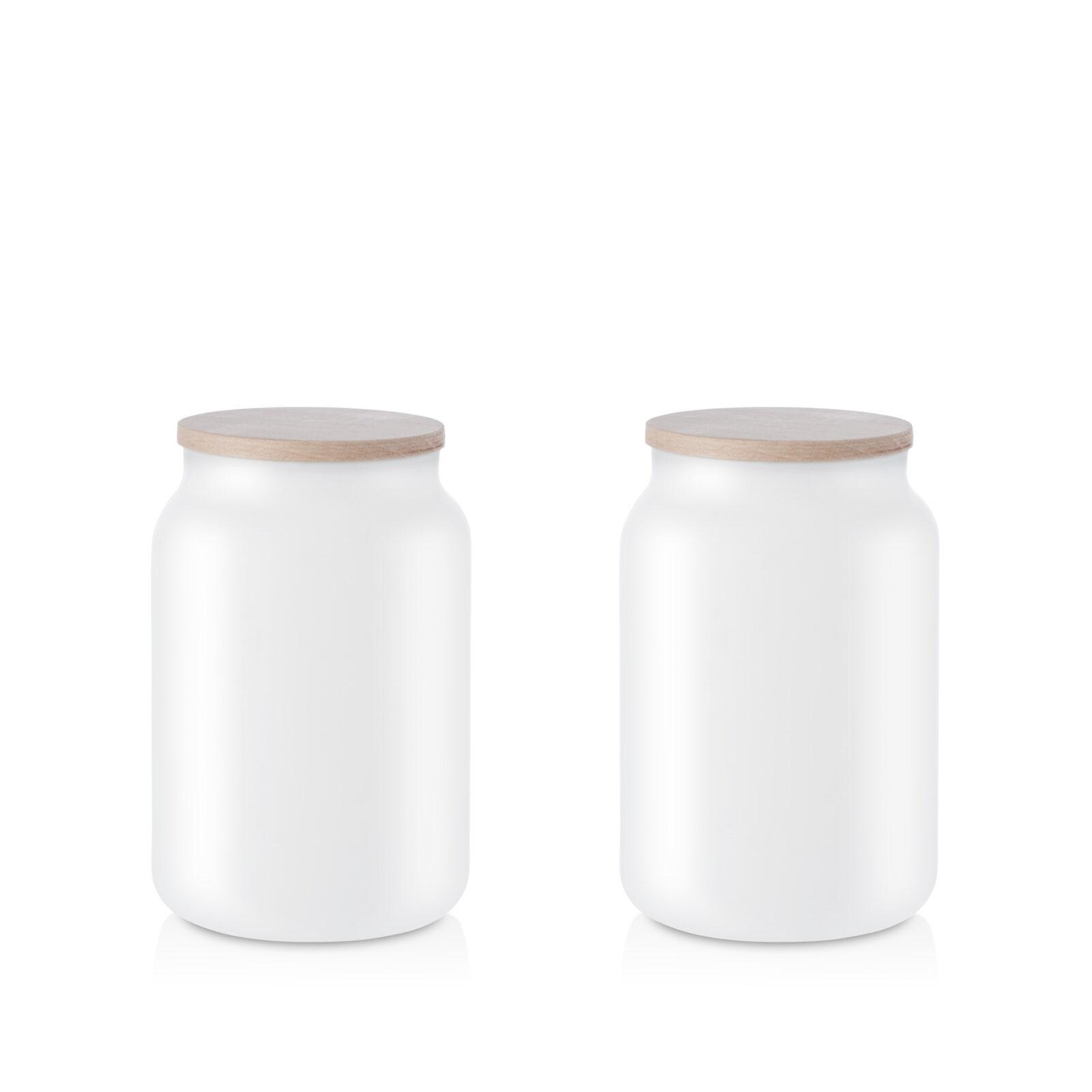 Pojemnik szklany na żywność biały z pokrywką kpl 2 0,9l