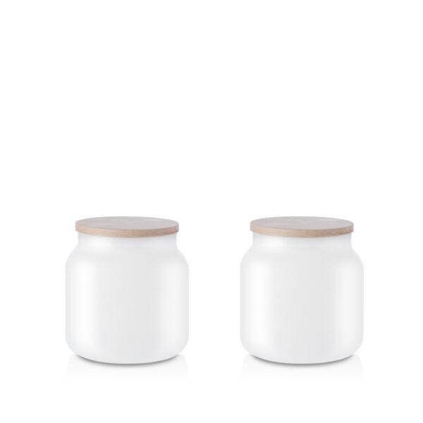 Pojemnik szklany na żywność biały z pokrywką kpl 2 0,6l