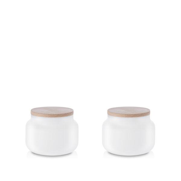 Pojemnik szklany na żywność biały z pokrywką kpl 2 szt. 0,4 L