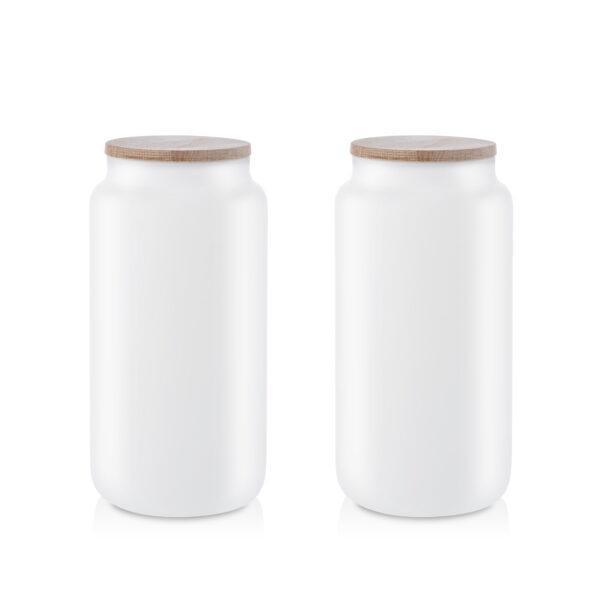 Pojemnik szklany na żywność biały z pokrywką kpl 2 1,1L
