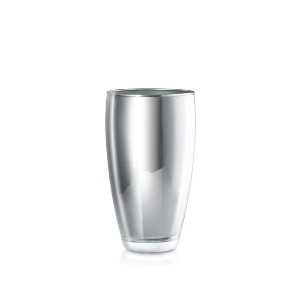 Wazon szklany GLAMOUR srebrny H25