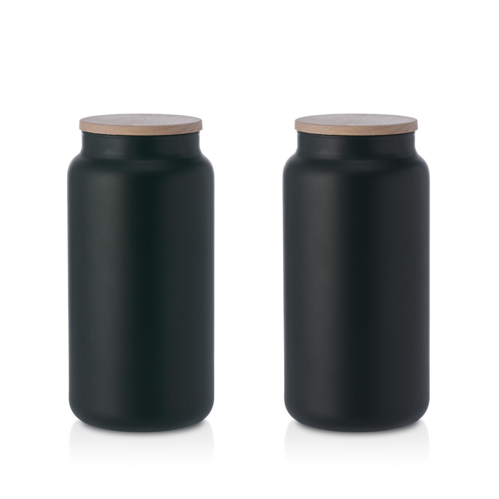 Pojemnik szklany na żywność czarny z pokrywką kpl 2 1,1L