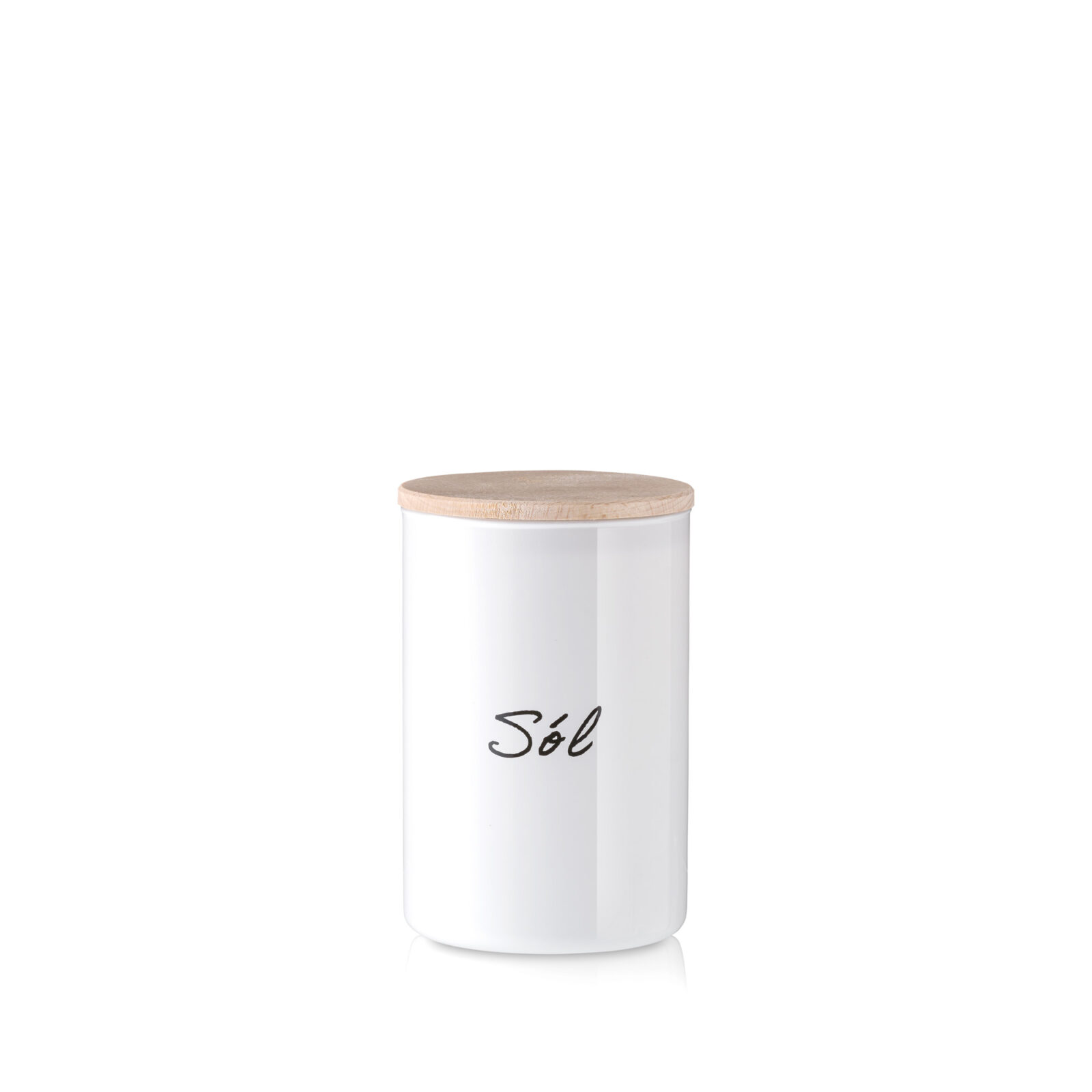 Pojemnik szklany na sól biały z pokrywką