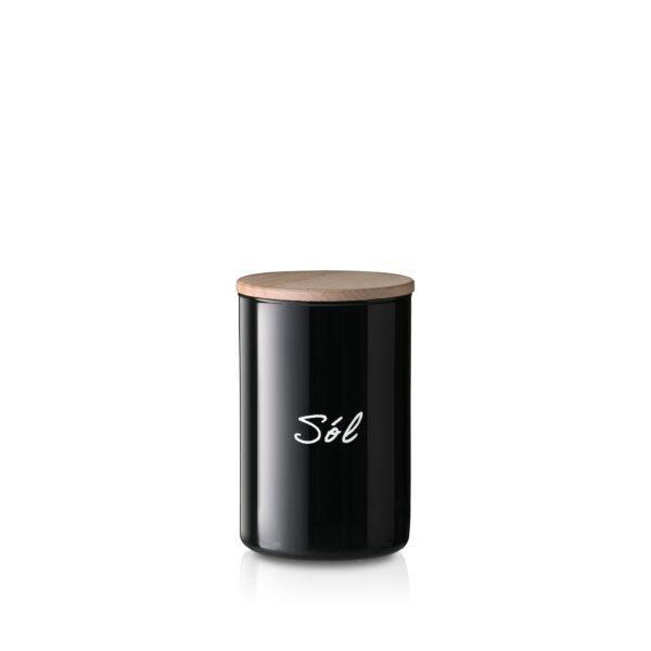 Pojemnik szklany na sól czarny z pokrywką
