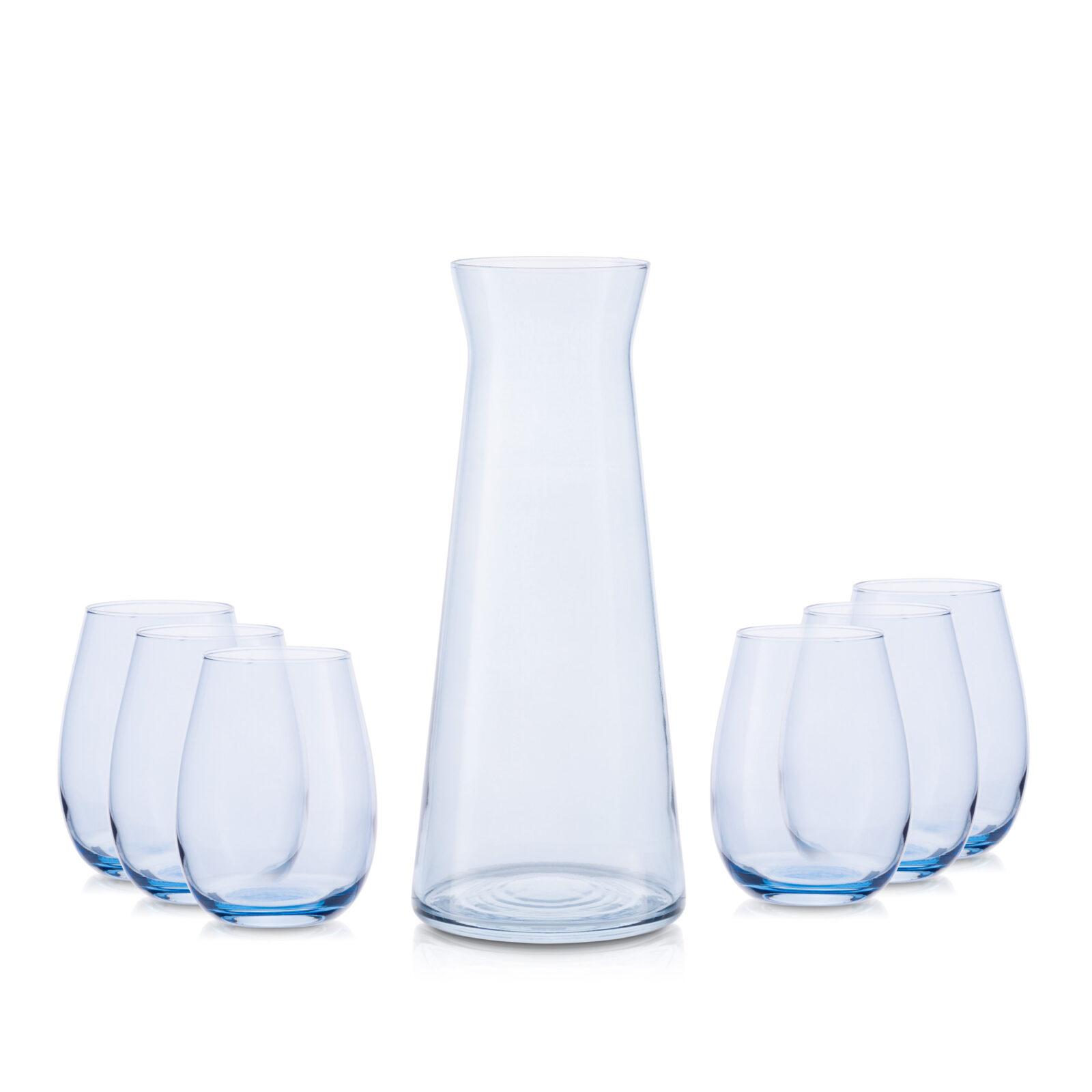 Zestaw karafka 1,1 L+ 6 szklanek niebieski