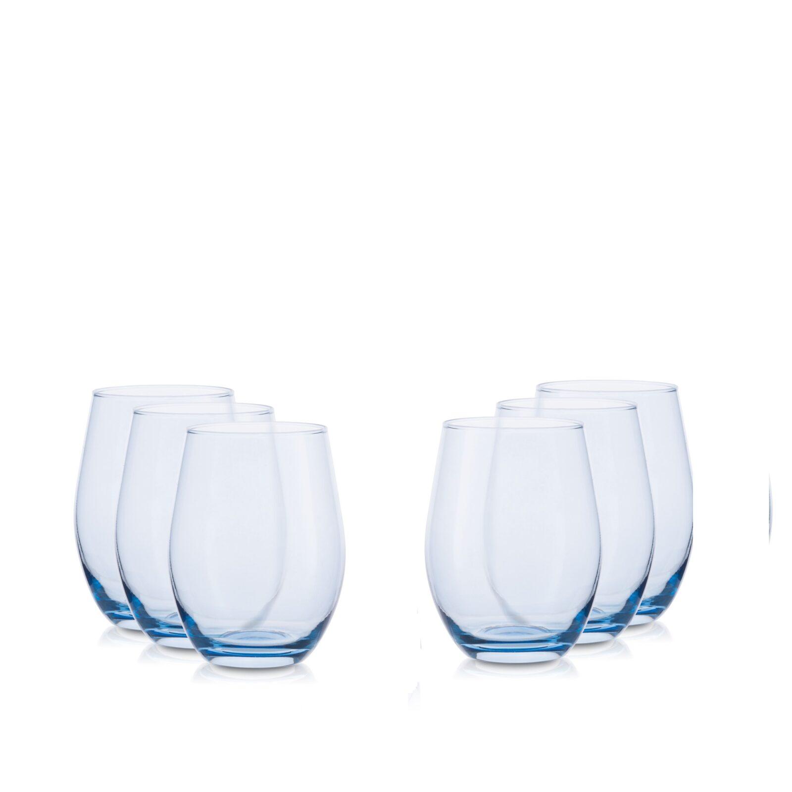 Zestaw szklanek 500 ml -6szt. niebieski transparent