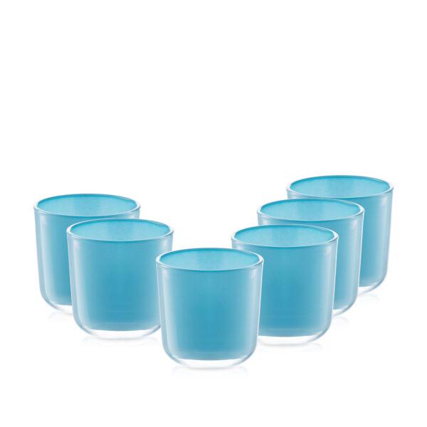 Pojemnik szklany szklanka niebieska 70020-kpl 6szt