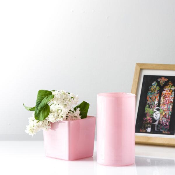 Wazon szklany cylinder tuba różowy połysk H20