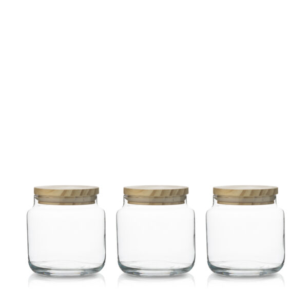 Pojemnik szklany do zalewu świec z deklem drewnianym kpl 3 szt.