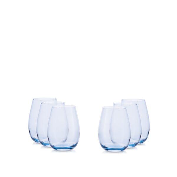 Zestaw szklanek 250 ml -6szt. niebieski transparent
