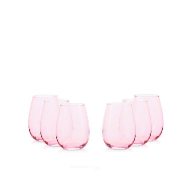 Zestaw szklanek 250 ml -6szt. różowy transparent