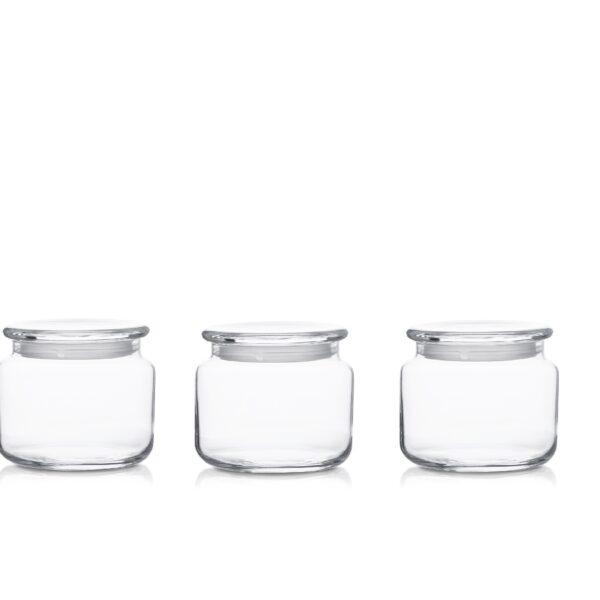 Pojemnik szklany słoik H7,5 z pokrywką 3 szt.