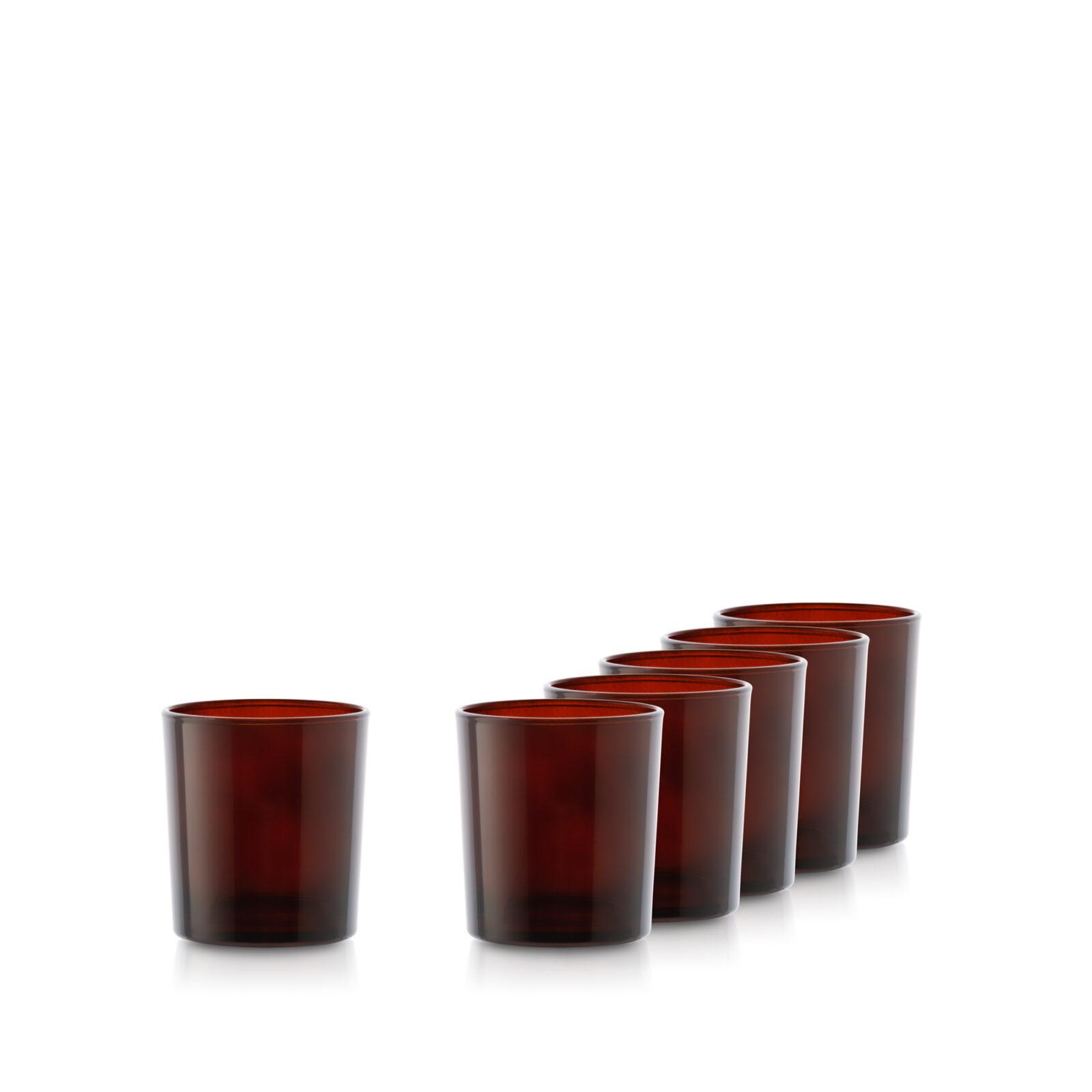 Pojemnik szklany szklanka do zalewu świec 70056-kpl6 bursztyn