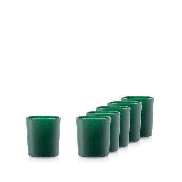 Pojemnik szklany szklanka do zalewu świec 70056-kpl6 zielony mat
