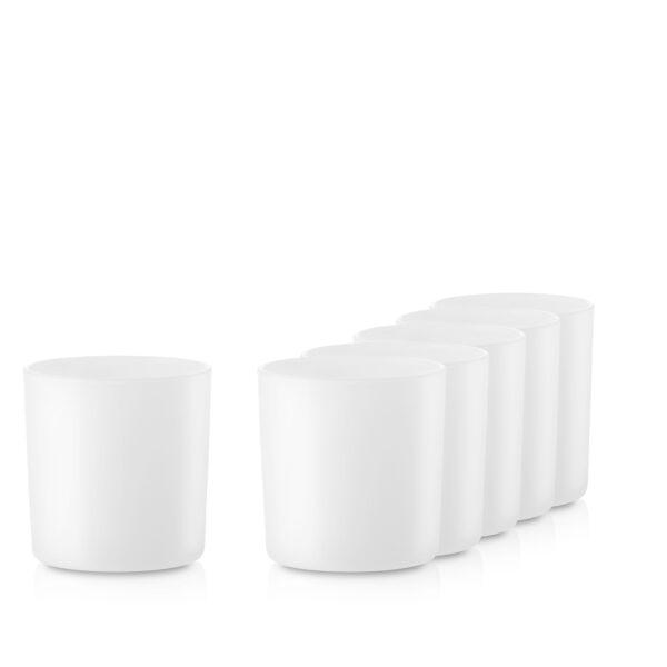Pojemnik szklany na świece 70816-kpl6 biały mat