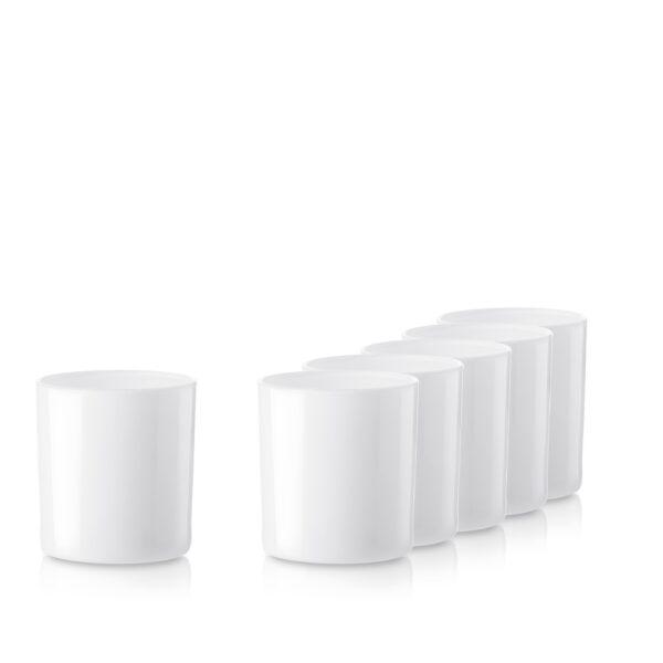 Pojemnik szklany szklanka pod zalew świec 70816-kpl6 biały połysk