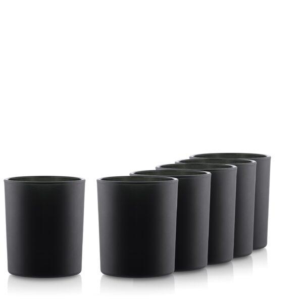 Pojemnik szklany na świece 70816 kpl6 czarny mat